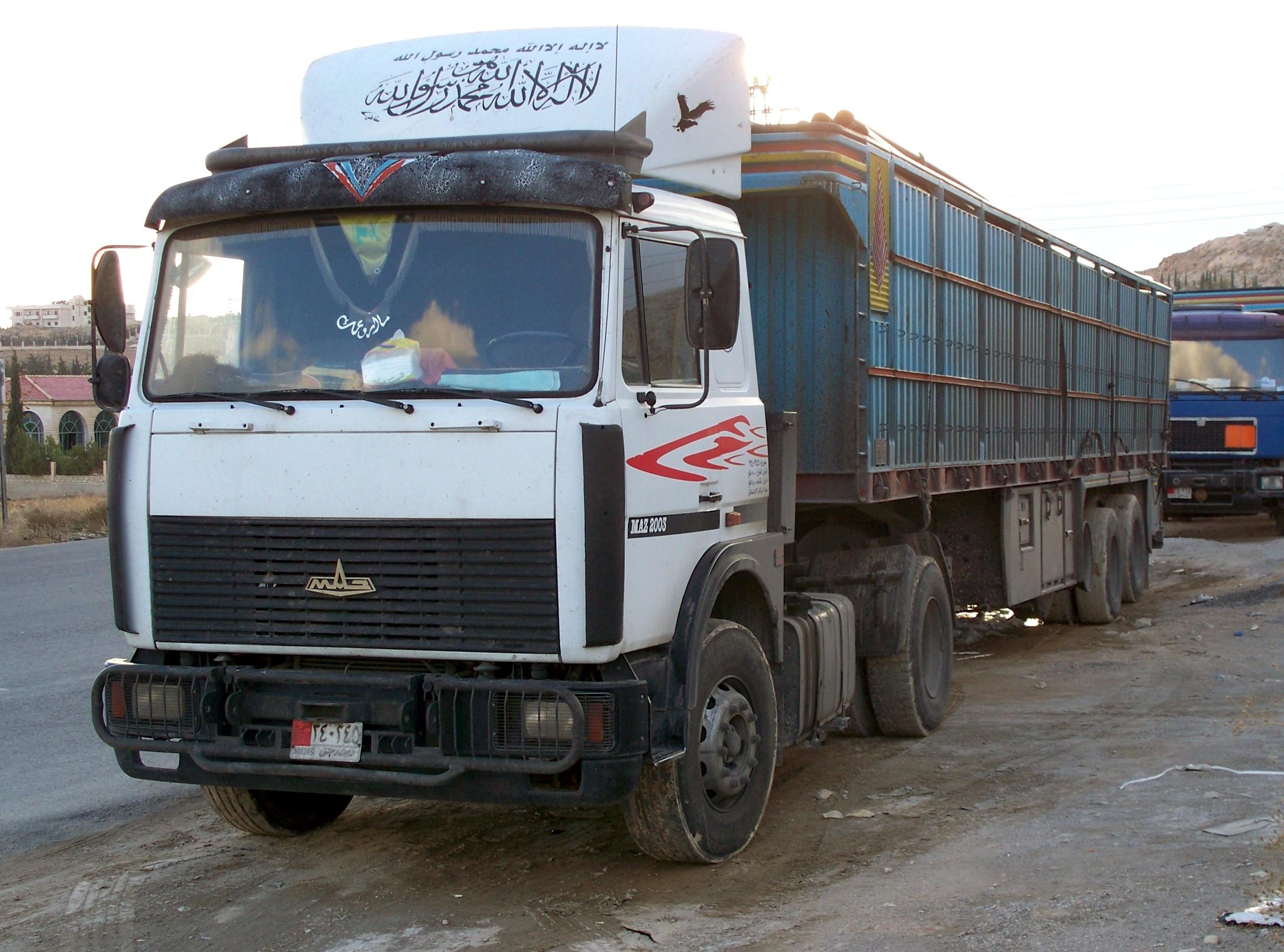 A humantarian aid lorry in Syria.