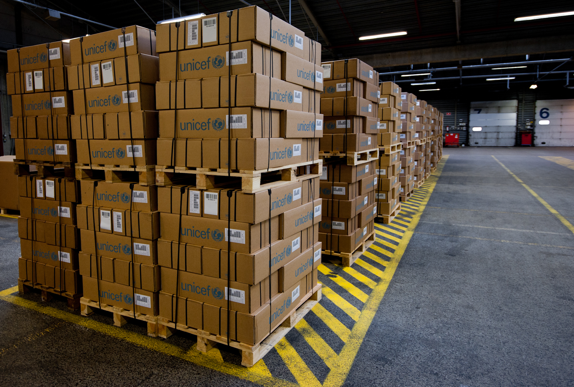 Pallets ready for shipping at the UNICEF world warehouse in Copenhagen.