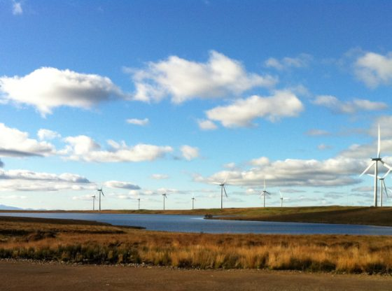 Whitelee wind farm with Arran in the background. Wind turbines dot a flat landscape beneath an open blue sky.