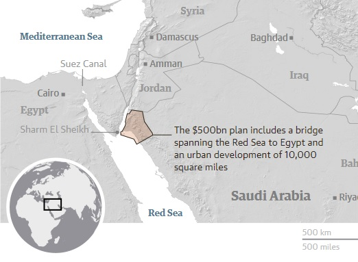 The highlighted area shows Neom, where SbM has outlined plans for a special economic zone. A map of the Middle East shows a small western corner of Saudi Arabia highlighted.